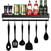 mreechan Porte-épices,étagère de cuisine, Étagère de Cuisine Murale Sans Perçage Étagère à Epices avec 6 crochets…
