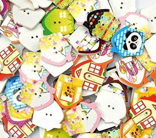 bangdan House Animal Button Craft Scrapbook Nähen Beiwerk, 100mehrfarbig Holz