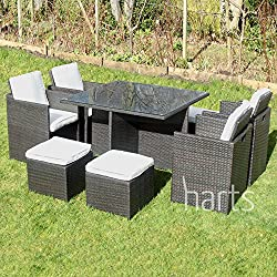 Harts Outdoor Rattan Cube set - 9 Piece Dining Set Wicker patio conservatory furniture Inc Rain Cover (Brown)