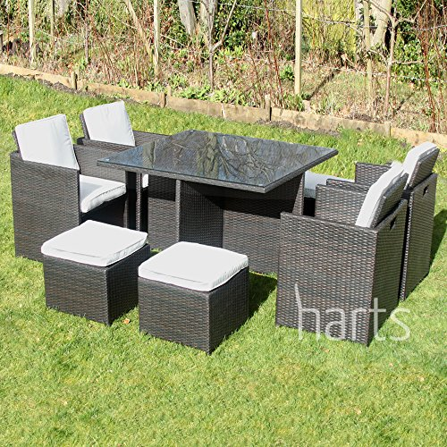 [Best Price] Harts Outdoor Rattan Cube set 9 Piece Dining Set Wicker patio