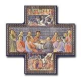 Kreuzförmige Ikone mit Abbildung des letzten Abendmahls, gold-silberne Metallfarbe, 15,2 x 15,2 cm