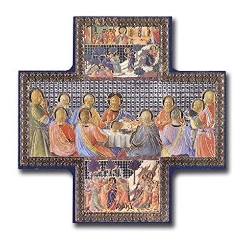 """Última Cena oro/plata metálico en forma de cruz para colgar cuadros icono estilo 6""""x 6"""" Jesús y discípulos"""