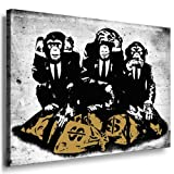 Banksy Street Art Graffiti - Affen Leinwand von artfactory24 fertig auf Keilrahmen - Kunstdrucke, Leinwandbilder, Wandbilder, Poster, Gemälde, Pop Art Deko Kunst Bilder