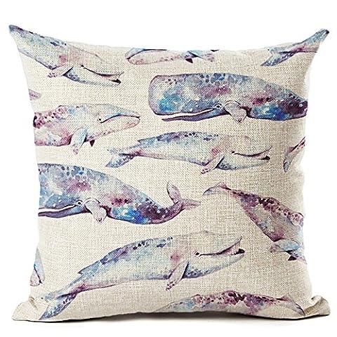 Coolsummer Taie d'oreiller pour canapé Motif poissons 45,7x 45,7cm, Linge de coton, UKS033A6, 18x18