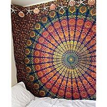 marubhumi® tradicional de la India Hippie algodón tapiz, Boho Hippie Rainbow Beach Coverlet cortina, colgar en la pared, bohemio colgante de pared, 215x 235cm