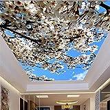 Steaean Fond D'Écran 3D Personnalisé De Plafond Beau Fond D'Écran 3D De Plafond De Fleurs De Cerisier, 300 * 210Cm