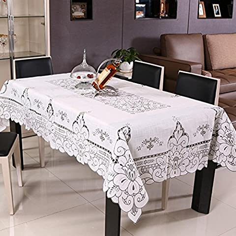ZB Manteles de lino rústico calado impresa cubren con manteles servilletas , 130*130cm