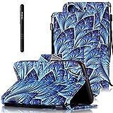 Slynmax Leder Tasche Schutzhülle für HTC Desire 626G 5 Zoll Hülle Flip Wallet Case Hand Strap Lanyard Brieftasche Lederhülle Ledertasche Handyhülle Klapphülle Cover(Blau Feather)