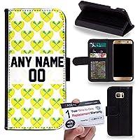 Case88 [Samsung Galaxy S7 Edge] Custodia in PU Pelle, Supporto Stand e Porta Carte Integrati Portafoglio Flip Cover - Personalizzata Sports Design Girls Lacrosse DSE0197