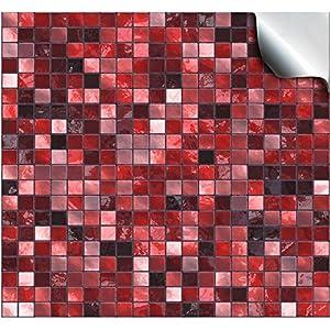 24 Stück Fliesenaufkleber Für Küche Und Bad (Tile Style Decals  24xTP3 6u2033 Red) | Mosaik Wandfliese Aufkleber Für 15x15cm Fliesen | Deko  Fliesenfolie Für ...
