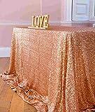 ShinyBeauty Tovaglia con paillettes, 125 x 180 cm, tessuto con lustrini, per matrimonio, colore: champagne, Rose Gold Color, 125x180cm Sequin Tablecloth
