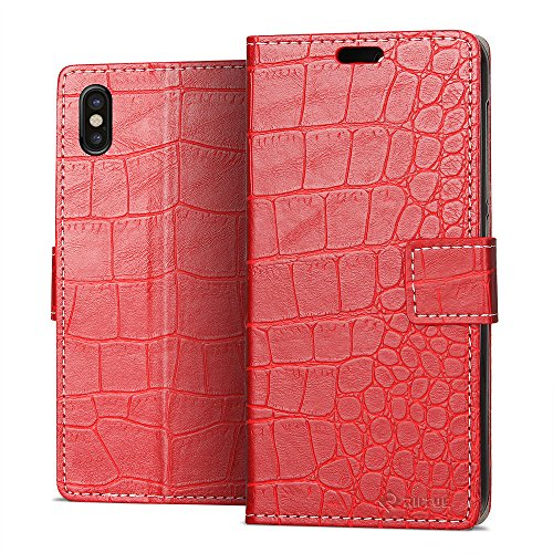 Cover iPhone X, Riffue® Apple iPhone 10 Custodia Cuoio Sintetico Fine di Alta Aualità Slim Eleganti Moda con Portafoglio, Protezione Completa 360 Gradi, Cocodrillo, Cover per Apple iPhone X 2017 - Vio Rosso