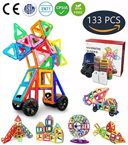 Jasonwell Magnetische Bausteine 133 Teile Magnete Bauklötze Konstruktion Blöcke Bausatz Kreative Spielzeuge Kinder Kleinkind Mädchen Jungen Riesenrad Aufbewahrungstasche Tolles Weihnachtsgeschenk (Kinder Geld Sicher)