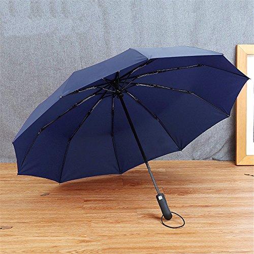 Großunternehmen (HOYJ Vollautomatische Regenschirm Schirm Verstärkung Großunternehmen Navy Blue Umbrella Regenschirm)