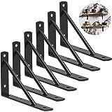 DILNAZ ART Shelf Brackets 10 Inch Heavy Duty Metal Shelf Holders, Industrial Rustic Farmhouse Iron Floating Shelf Bracket for