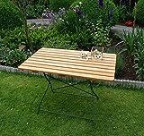 Gartentisch Passau 110x70cm Robinie Flachstahl grün pulverbeschichtet