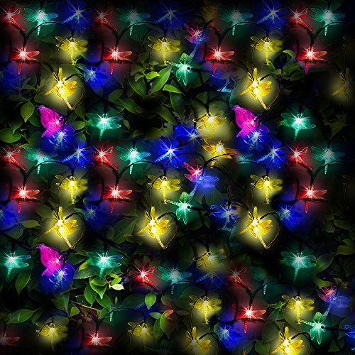 100 Multi-colour LED Dragonfly Solar Fairy Lights / Solar String Lights by SPV Lights: The Solar Lights & Lighting Specialists (Free 2 Year Warranty Included)
