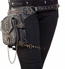 FiveloveTwo® Punk Sport Tactical Hip Bag PU Leder Hüfttasche Beintasche Reisen Klettern Radfahren Joggen Gürtelbefestigung Einstellbare Länge Schenkel Wanderrucksäcke Tasche