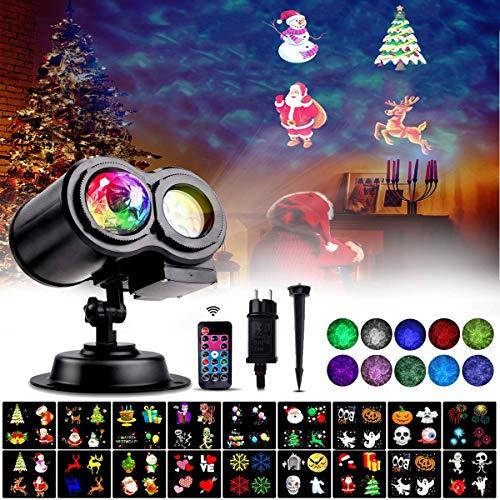 LED Projektorlampe,18 Folien LED Lichter Projektor Halloween Weihnachten Wasserwellen Welleneffekt, Außenbeleuchtung Ostern Licht Projektor mit Fernbedienung für Party Neujahr [Energieklasse A+++]