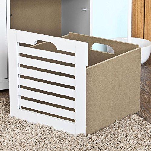 SoBuy® moderne Schuhtruhe,Sitzkommode mit 3 Körben,Sitzbank, Schuhschrank mit Sitzkissen,Spieltruhe, FSR23-W -