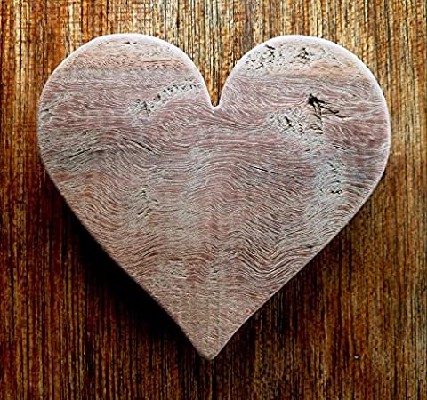 A Beautiful Hand Crafted Tropical Hardwood Rustic Heart Paperweight - 4