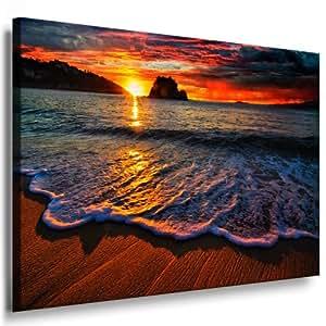 wandbild strand sonnenuntergang bild 100x70cm leinwandbild fertig auf keilrahmen. Black Bedroom Furniture Sets. Home Design Ideas