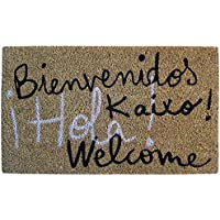 Laroom Felpudo Diseño Bienvenidos Kaixo Hola Welcome, Jute and Base Antideslizante, Marrón, 40x70x1.8 cm