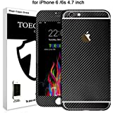 Toeoe Luxury 3D Textured Carbon Fibre Full Body Vinyl Wrap Sticker Skin for Apple iPhone 6 / iPhone 6S 4.7'' (Black)