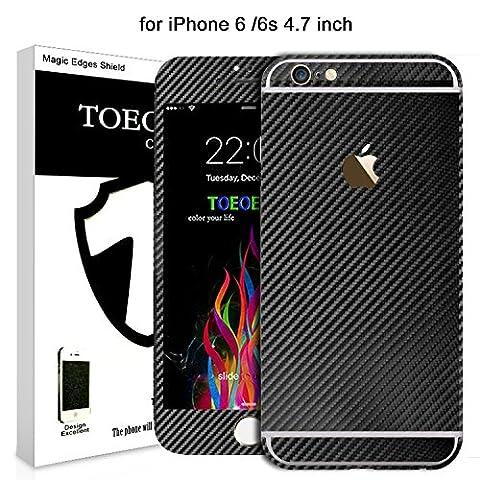 3D Carbon Style Aufkleber Sticker + Displayschutzfolies für iPhone 6s (Schwarz)