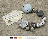 Baby SCHNULLERKETTE mit NAMEN | Schnullerhalter mit Wunschnamen - Jungen Motiv Fuchs und Herz in babyblau, grau