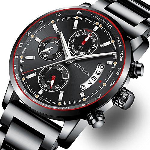 Herren Edelstahl Uhren Herren Chronograph wasserdicht Sport Datum Quarz Armbanduhr mit schwarzen großen Gesicht Mode klassischen Casual Uhr Geschenke für Männer