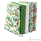 "RayLineDo® 5X Different Pattern Green 100% Cotton Poplin Fabric Fat Quarter Bundle 46 x 56cm ( Appox 18"" x 22"") Patchwork Quilting Fabric"