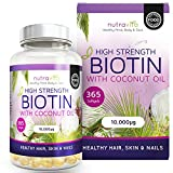 Biotin (High Potency) Hair Growth Supplement 10,000mcg 1 Year Supply; Enhanced with Coconut Oil for Better Absorption; Supports Normal Hair Growth, Maintenance of Normal Skin & Nails