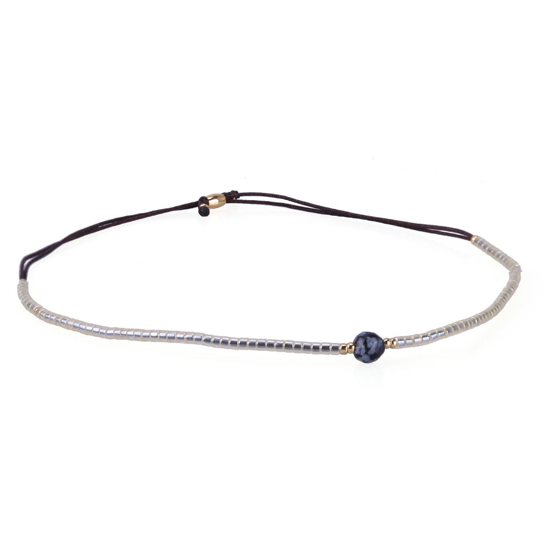 KELITCH Armband Gold Rocailles Perlen Schwarz Zart Schnur Freundschaftsarmbänder mit Schwarz Achat