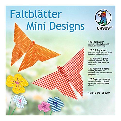 Ursus 2975599F - Hojas Plegables (tamaño pequeño, Aprox. 15 x 15 cm, 80 g/m², 120 Hojas Surtidas en 10 Colores y 3 diseños, Multicolor