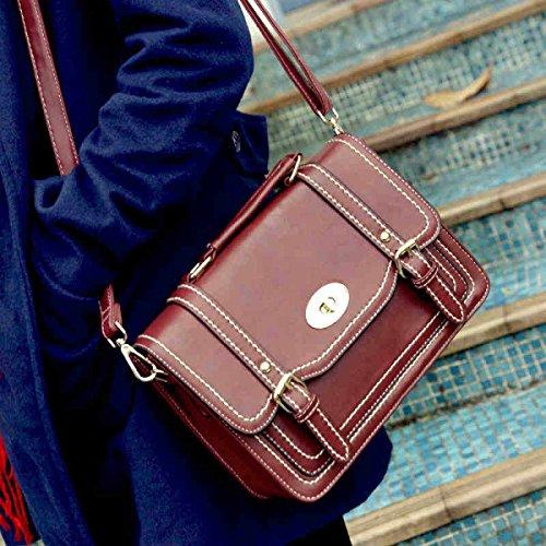 Ladies Borse Multifunzionale Retrò Borsa Postale Spalla Borsa Messenger Documento Borsa Red