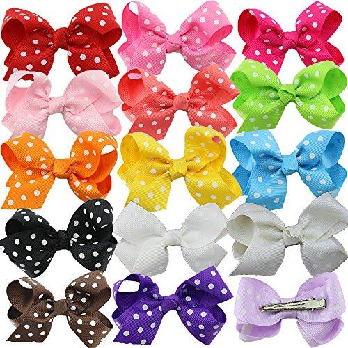 HABI 15 stk mehrfarbig Haarspange Haarband gepunktet Accessoire Fliege Schleife mit Blumen Deko für Kinder Mädchen verschiedene Farben und (Und Kostüme Schnelle Einfache Diy)