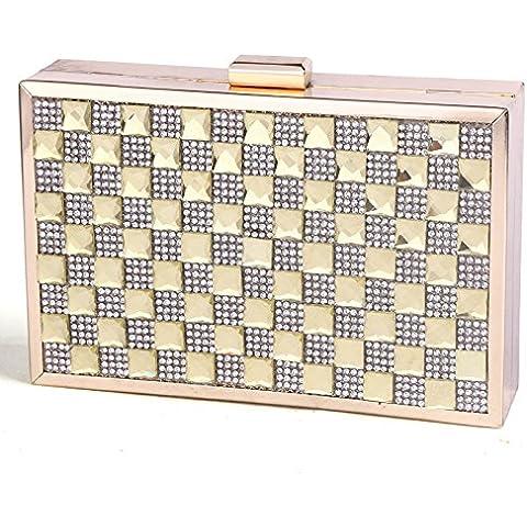 LUcy KA-Sra. Embrague Europa y diamantes diamantes de lujo parcela rectángulo bolsa de bolsos de noche fiesta de la