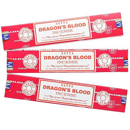Satya Nag Champa–la sangre de dragón–Varillas de incienso, 3-PACKS