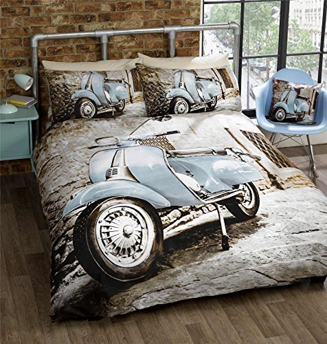 Blau Moped Scooter Bike Retro Mod Grau Einzelbett Bettbezug 135cm x 200cm