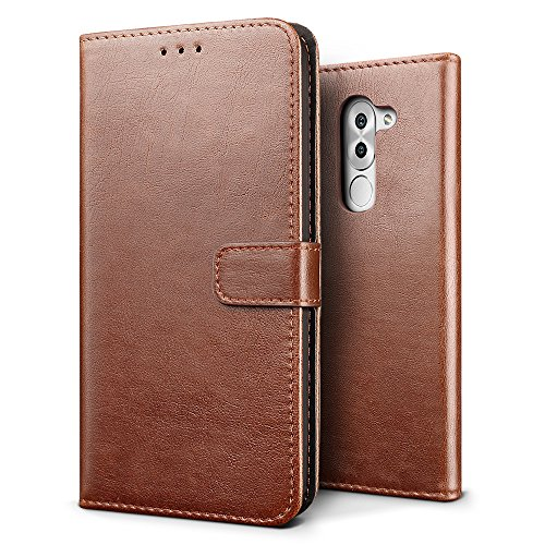 SLEO Huawei Honor 6X/Huawei Honor 6 Plus Hülle, Retro PU Lederhülle Wallet Deckel mit Kartensteckplätze Tasche für Huawei Honor 6X/Huawei Honor 6 Plus - Kaffee