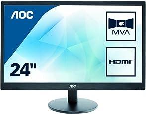 AOC M2470SWH 59,9 cm (23,6 Zoll) MVA-Monitor (VGA, 2xHDMI, 1920 x 1080, 60 Hz, 1ms Reaktionszeit) schwarz