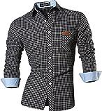 Jeansian Uomo Camicie Un Colore Solido Senza Fiori Moda Abito Camicia Affari Slim Casual Shirts 8615 Black M