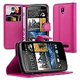 Cadorabo Hülle für HTC Desire 500 Hülle in Cherry Pink Handyhülle mit Kartenfach und Standfunktion Case Cover Schutzhülle Etui Tasche Book Klapp Style Cherry-Pink