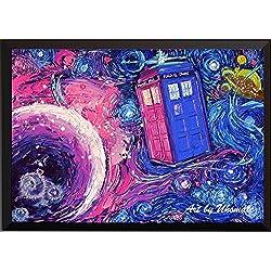 uhomate Tardis de Dr Who Doctor cabina de teléfono decoración de la pared Vincent Noche estrellada de Van Gogh carteles decoración de la casa regalos de aniversario regalo A099, 11x14 inch