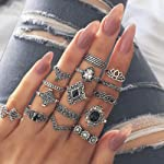 Women's 15 Pcs Ring Set Retro Stylish Hollow Floral Design Ring Suit, Women Bohemian Vintage Silver Stack Rings