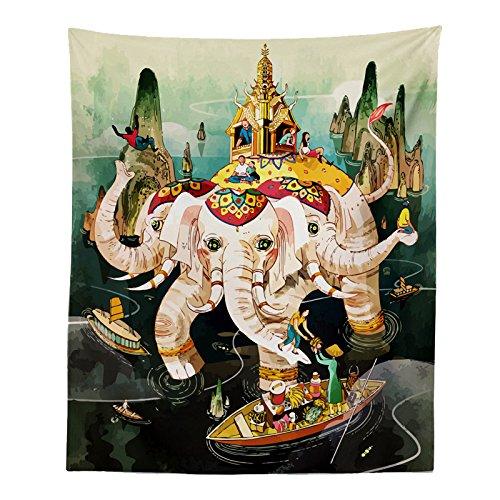 Cartoon Elefant Gott Indische Kunst Wandteppich Drei-Kopf Elefant Hinduismus Kunstwerk Meditation Wandbehang Werfen Boho Hippie Wand Dekor Vorhang Bettdecke 51*59in