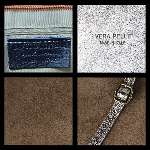 Gloop Damen Clutch echt Leder Tasche Abendtasche mit Kette Handtasche Umhängetasche Made in Italy 1.010.9 Gold Metall