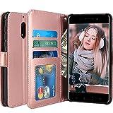 Custodia Nokia 6 2018, LK Case in Pelle PU di Lusso Portafoglio con Fessure di carta Cover Protettiva - Oro rosa