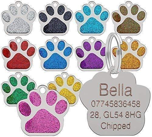 personalisiert graviert Marke Haustier Marken glitzer pfote Design Qualität 27mm Hundemarken - Gratis Gravur - Blau